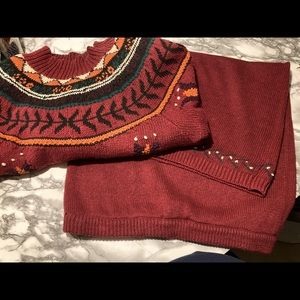 Vintage Jennifer Reed Knitted By Hand Wildflower Sweater & skirt set Sz Md